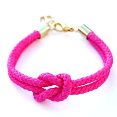 Neon Pink Rope Bracelet with Gold Anchor