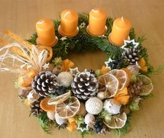 Simple and Popular Christmas Candles Decorations; Christmas Decor DIY crafts how to make Simple and Popular Christmas Candles Decorations Christmas Advent Wreath, Christmas Candle Decorations, Xmas Wreaths, Christmas Candles, Rustic Christmas, Christmas Time, Christmas Crafts, Advent Wreaths, Candle Centerpieces