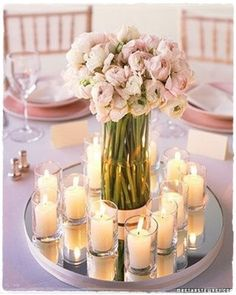 Centerpiece. Flowers & Candles W/ Mirror Plate.