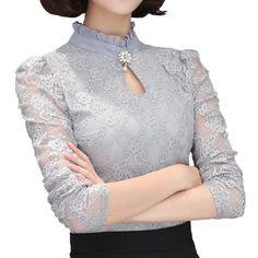Plus Size Women Tops Chemise Femme Blusas Femininas Blouses & Shirts Women's Shirt Gray White Black Crochet Lace Elegant Blouse