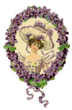 Romantic Lady with Floral Wreath Images - The Graphics Fairy Vintage Labels, Vintage Ephemera, Vintage Postcards, Vintage Images, Retro Vintage, Vintage Birthday Cards, Vintage Greeting Cards, Vintage Valentines, Graphics Fairy