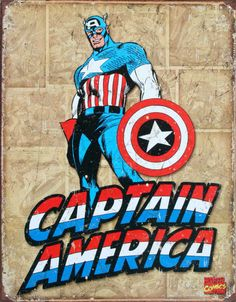 Marvel Comics Nostalgic Tin Signs - Captain America Retro - Marvel Comic Products Posters & Other Captain America Poster, Marvel Captain America, Capitan America Marvel, Marvel Comics, Marvel Dc, Marvel Room, Spiderman Marvel, Superman, Vintage Tin Signs