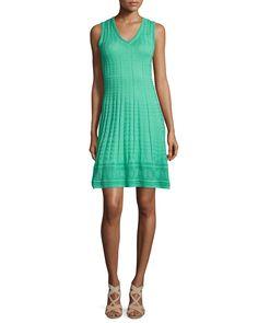 Sleeveless V-Neck Sheath Dress, Mint - M Missoni