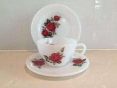 Vintage Phoenixware Milk Glass Trio - cup saucer & plate