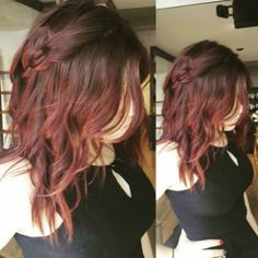 Edgy dark red locks. Too cute! [Hair by Keira from David J. Witchell at Peddler's Village]