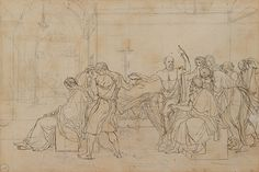 Study for 'The Death of Socrates', 1786 by Jacques Louis David. This is a detailed sketch for David's 1787 painting of the same name, which… Vintage Wall Art, Vintage Walls, Jacque Louis David, Working Drawing, Figure Drawing, Maker Culture, Carthage, Socrates, A4 Poster