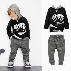 Cotton Long-Sleeved hooded Sweater Casual Pants Two-Piece Suit For Boys
