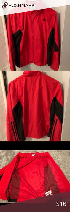 Adidas nylon zip up Adidas nylon zip up. Size small. Waterproof with netting on the inside. Red with black detailing. My name is sharpied on the inside tag, not visible when wearing adidas Jackets & Coats Utility Jackets