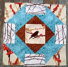 https://flic.kr/p/gb5RqZ   Block for Jenn   Sew Pieceful September, Hive #1  Colors: Aqua, brown, orange with cream background.