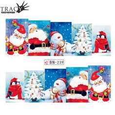 1pcs 2017 Winter Snowman Elk Nail Art Water Transfer Sticker Full Cover Colorful Christmas Wrap Manicure Nail Beauty BN229-240