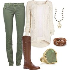 A fashion look from August 2013 featuring cable knit sweater, green jeans and side zip boots. Browse and shop related looks.