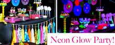 Neon Glow-in-the-Dark Tween Dance Girl Birthday Party Planning Ideas.This is what we are going to do for Jaylyns birthday party. Neon Birthday, Birthday Party Snacks, 1st Birthday Parties, Girl Birthday, Birthday Ideas, 10th Birthday, Birthday Venues, Kid Parties, Theme Parties