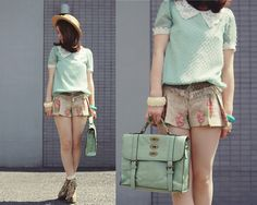 Mint with floral (by Shan  Shan) http://lookbook.nu/look/3726995-mint-with-floral