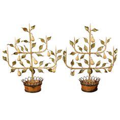 pr. of Italian tole espaliered pear trees in faux bois baskets