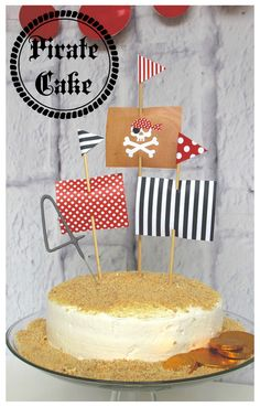 Ahoy! Custom cakes by YOU! Just add graham cracker crumbs, gold coins, flags and sparkler from www.bittybashco.com!
