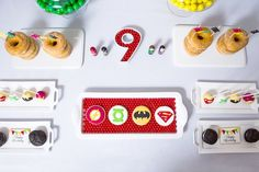 Sweet Tabletop Detail from a Modern Justice League Birthday Party via Kara's Party Ideas KarasPartyIdeas.com (46)