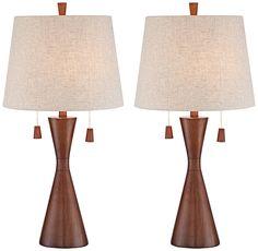 Omar Warm Brown Hourglass Table Lamp Set of 2 - #8Y238-8Y238 | Lamps Plus