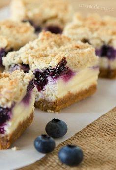 Blueberry Crumble Cheesecake Bars
