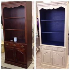chalk paint® decorative paint by annie sloan - old white outside, napoleonic blue inside, lightly distressed, clear wax||www.creativefinishesstudio.com