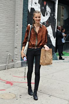 I love this angle where you can see her whole outfit! MODELS JAM: Tilda Lindstam, New York, September 2012