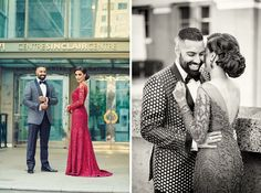 A black-and-white Tom Ford suit by Harry Rosen for Groom Bhavjit of WeddingSutra. Photos Courtesy: Deo Studios