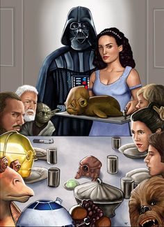 This is a Star wars Tribute to Norman Rockwell and one of his most famous paintings. This is a thanksgiving day dinner in a Star wars scenio, where the . Star Wars Fan Art, Mona Lisa, Starwars, Freedom From Want, Amidala Star Wars, Famous Pictures, Weird Pictures, Pokemon, Star Wars Pictures
