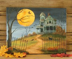 Full Moon Bats Black Cat Witch Haunted House Ghosts Halloween Original Painting #Realism