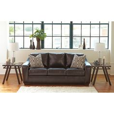 Signature Design by Ashley Coppell DuraBlend Chocolate Queen Sofa Sleeper (Queen Sofa Sleeper), Brown