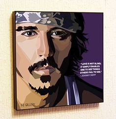Johnny Depp 2 Cinema Artist Actor Decor Motivational Quotes Wall Decals Pop Art Gifts Portrait Framed Famous Paintings on Acrylic Canvas Poster Prints Artwork Geek Decor Wood ** Want to know more, click on the image.