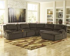 Toletta Contemporary Chocolate Low melt fiber Reclining Power Sectional Sofa >>> Look into the picture by checking out the web link. (This is an affiliate link). Fabric Sectional, Living Room Sectional, Living Room Furniture, Sectional Sofas, Brown Sectional, Curved Sectional, Sectional Furniture, Leather Sectional, House Furniture