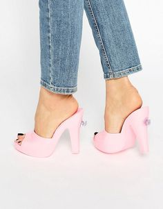 Melissa + Jeremy Scott Bubblegum Pink Mules Peep Toe Mules b0b7f41a0