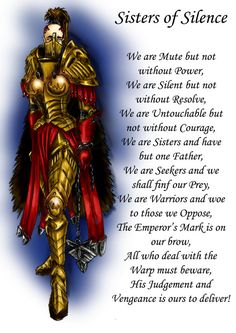 sisters of silence Warhammer Games, Warhammer 40k Memes, Warhammer 40000, Sisters Of Silence, Legio Custodes, 40k Sisters Of Battle, Grey Knights, The Inquisition, War Hammer