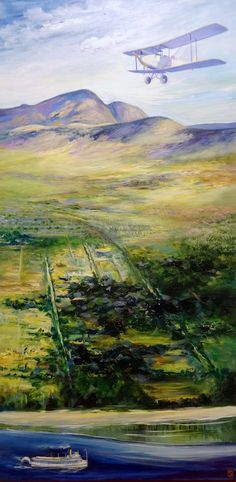 """1931 Trans Canada Air Pageant - Rutland Airfield. Painting by Sea Dean 48"""" x 24"""" Gallery Wrap Canvas. To be auctioned November 20th 2015 in Rutland, B.C. Canada by the Urban Rutland Business Association."""