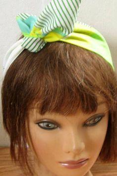 Hair Bandana, Summer Sale BOHO Headband, Hair Accessory, Green and Turquoise, Hair Bandana, Boho,  TieUp Bandana, Women HairBand #374 by StitchesByAlida on Etsy