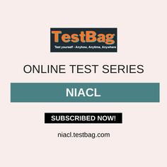 NIACL Mock Test - Get NIACL online mock test and NIACL online test series based on latest patterns, syllabus, exam date, notification, application form at niacl.testbag.com India's top e-learning platform for different competitive entrance examination with free NIACL test series, NIACL study material, NIACL exam patterns, NIACL exam date etc. Subscribed today and enter coupon code TESTBAG to get 20% off on paid subscription. Past Exam Papers, Past Exams, Online Mock Test, Online Test Series, Cat Online, Sample Paper, Model Test, Application Form, Question Paper