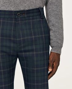 GREEN CHECKED TROUSERS WITH CHAIN DETAIL-View all-TROUSERS-MAN | ZARA Finland