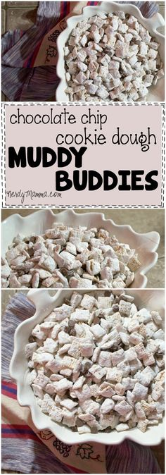 Allow me to introduce the best snack: Chocolate Chip Cookie Dough Muddy Buddies. It's yummy, dairy-free, egg-free, nut-free, gluten-free and NOT sugar-free. Puppy Chow Recipes, Chex Mix Recipes, Snack Recipes, Dessert Recipes, Cereal Recipes, Candy Recipes, Baking Recipes, Yummy Recipes, Fudge