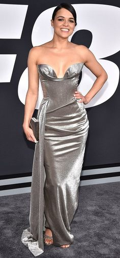 """Michelle Rodriguez in Vivienne Westwood attends """"The Fate Of The Furious"""" New York Premiere. #bestdressed"""