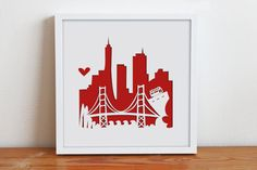 San Francisco CA  Personalized Gift or Wedding Gift by Cropacature, $27.00