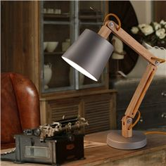 Modern Simple Fashion Metal Wood Table Lamp 1 Light