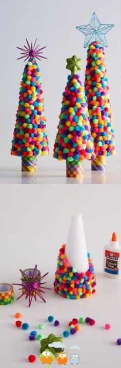 DIY: Colorful Pom Pom Trees will make fun craft projects for the kids to create during their Christmas break. Who doesn't love pom-poms! Kids Crafts, Christmas Crafts For Kids, Christmas Activities, Christmas Projects, All Things Christmas, Holiday Crafts, Holiday Fun, Christmas Decorations, Craft Projects