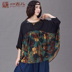 Jiqiu copil dacă vânt vântul național inițial a fost subțire de mari dimensiuni femei pierde cu maneci liliac cămașă de bumbac floral t-shirt