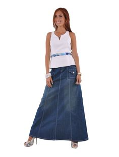 """Skirt Details: * floor length 41.5"""" * regular fit * stretch mid-weight aquamarine denim * four pockets A-line style long skirt * front zip & belt loops * 80% cotton, 17% polyester, 3% spandex Back-to-"""