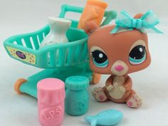 Littlest Pet Shop ULTRA RARE Tan Bear #2109 w/Shopping Cart & Accessories #Hasbro
