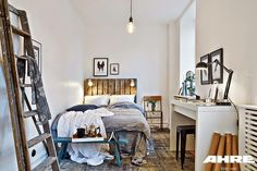 A bright Swedish apartment with industrial accents