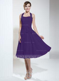 A-Line/Princess Halter Knee-Length Chiffon Bridesmaid Dress With Ruffle Bow(s) (007051832)