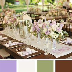 Lavender, White, Moss, Brown Color Palette