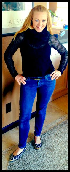 CAbi Fall 2013 Pointelle Sweater with CAbi Vintage skinny jeans and CAbi Fall 2013 Skinny Belt - Church Day