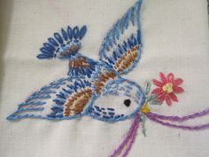 Vintage Embroidery blue   Bird