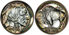 Mint struck two different 1936 Proof Buffalo Nickels. The first finish is referred to as a Satin Finish and the second is referred to as a Brilliant Finish. Here we see a PCGS example of a Brilliant Finish Proof. Old Coins, Rare Coins, Coin Values, Proof Coins, Buffalo, Two By Two, It Is Finished, Satin Finish, Mint